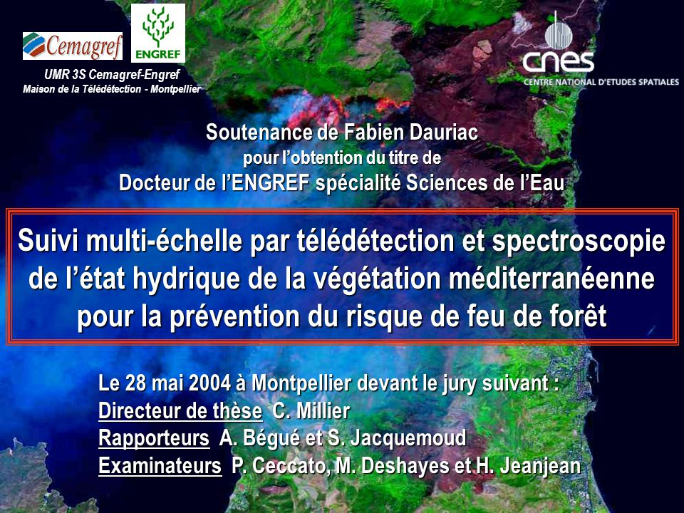 3 sites = 3 pixels x 10 périodes corrélation entre « teneur en eau » et « indices satellitaires » D10 en 2001 : r 2 = 21% (n=32) H7 en 2002 : r 2 = 73% (n=29) Perspectives : synthèses à 7 jours Spectroscopie proche infrarouge Télédétection à basse résolution Mesure directe de l'état hydrique ContexteObjectif Perspectives Synthèse massif des Maures Été 2002 Teneur en eau FMC indice GVMI Perspectives (2/4)