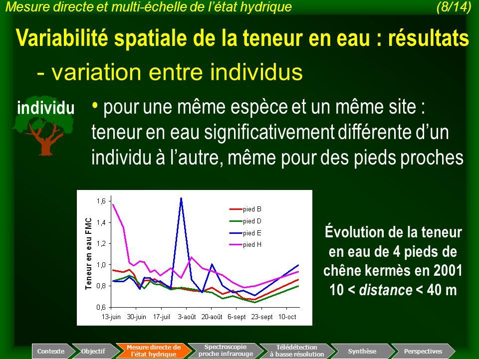 individu - variation entre individus pour une même espèce et un même site : teneur en eau significativement différente d'un individu à l'autre, même p