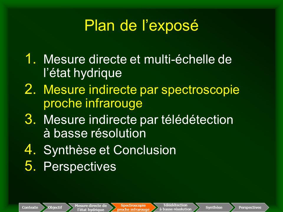Plan de l'exposé 1. Mesure directe et multi-échelle de l'état hydrique 2. Mesure indirecte par spectroscopie proche infrarouge 3. Mesure indirecte par