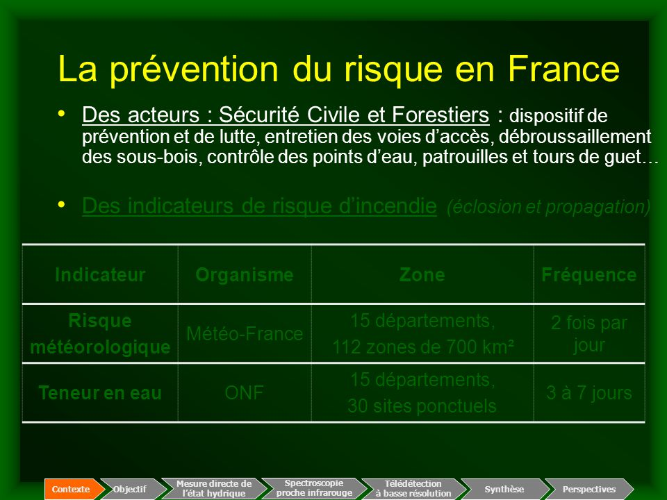 La prévention du risque en France IndicateurOrganismeZoneFréquence Risque météorologique Météo-France 15 départements, 112 zones de 700 km² 2 fois par