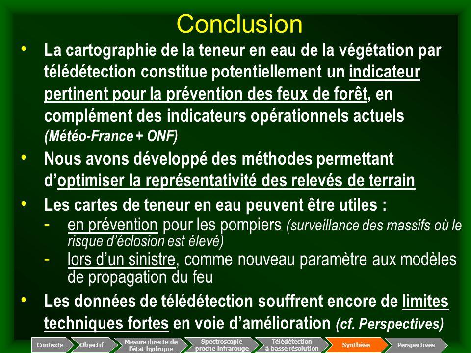 Conclusion Spectroscopie proche infrarouge Télédétection à basse résolution Mesure directe de l'état hydrique ContexteObjectif Perspectives Synthèse L