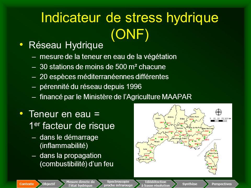 Indicateur de stress hydrique (ONF) Réseau Hydrique –mesure de la teneur en eau de la végétation –30 stations de moins de 500 m² chacune –20 espèces m