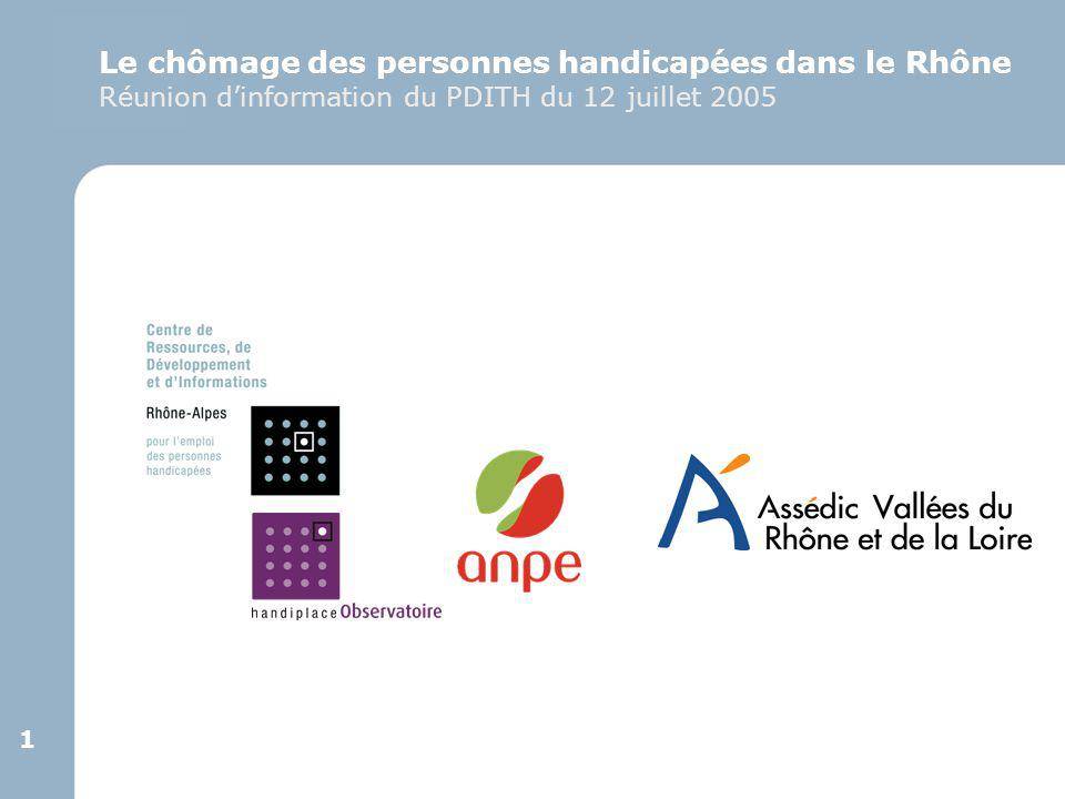 1 1 Le chômage des personnes handicapées dans le Rhône Réunion d'information du PDITH du 12 juillet 2005