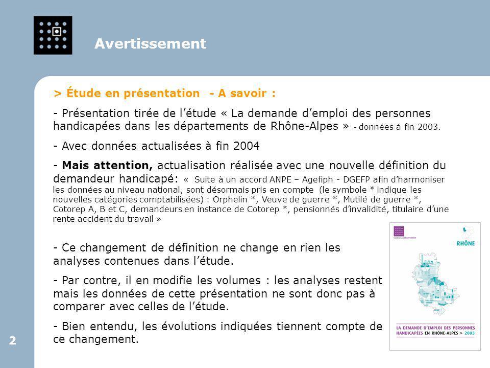 2 2 > Étude en présentation - A savoir : - Présentation tirée de l'étude « La demande d'emploi des personnes handicapées dans les départements de Rhôn