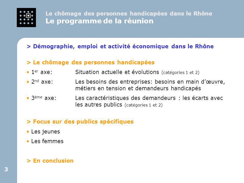 14 Une présence peu contrastée dans le Rhône - Part des demandeurs handicapés plus faible à Lyon - Près d'1 demandeur sur 2 présent dans l'Est lyonnais Le chômage des personnes handicapées dans le Rhône Situation actuelle et évolutions