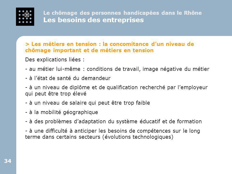 34 > Les métiers en tension : la concomitance d'un niveau de chômage important et de métiers en tension Des explications liées : - au métier lui-même