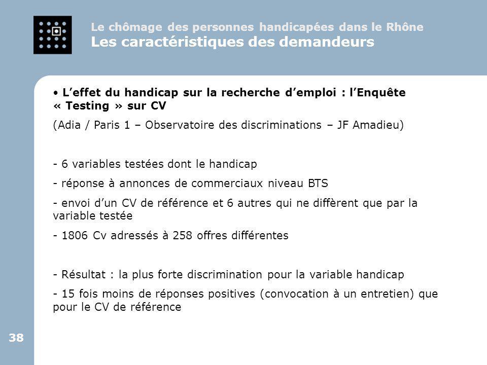 38 L'effet du handicap sur la recherche d'emploi : l'Enquête « Testing » sur CV (Adia / Paris 1 – Observatoire des discriminations – JF Amadieu) - 6 v