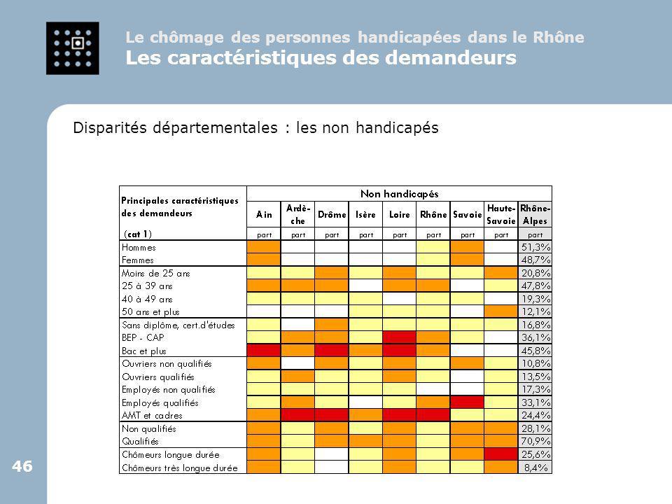 46 Disparités départementales : les non handicapés Le chômage des personnes handicapées dans le Rhône Les caractéristiques des demandeurs