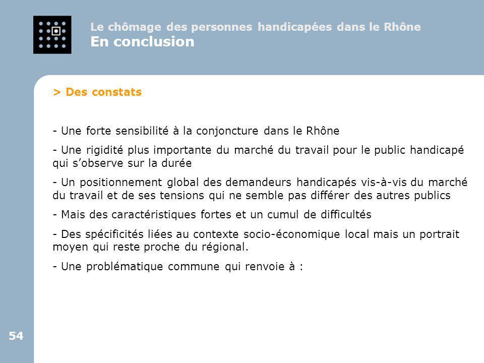 54 > Des constats - Une forte sensibilité à la conjoncture dans le Rhône - Une rigidité plus importante du marché du travail pour le public handicapé