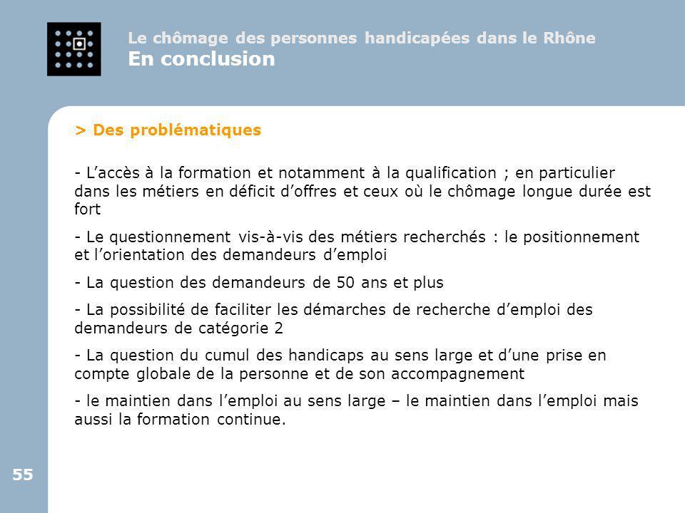 55 Le chômage des personnes handicapées dans le Rhône En conclusion > Des problématiques - L'accès à la formation et notamment à la qualification ; en