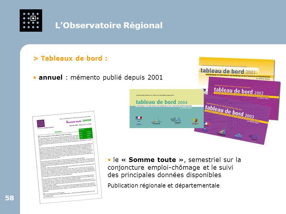 58 > Tableaux de bord : annuel : mémento publié depuis 2001 L'Observatoire Régional le « Somme toute », semestriel sur la conjoncture emploi-chômage e
