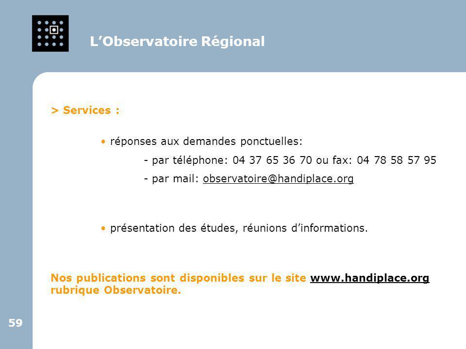59 > Services : réponses aux demandes ponctuelles: - par téléphone: 04 37 65 36 70 ou fax: 04 78 58 57 95 - par mail: observatoire@handiplace.orgobser