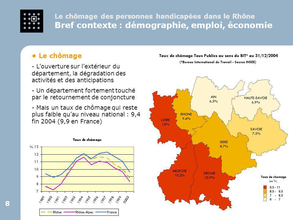 9 9 > L'obligation d'emploi - un taux d'emploi direct de 3,7% dans le Rhône (4,1 en région) en 2002.