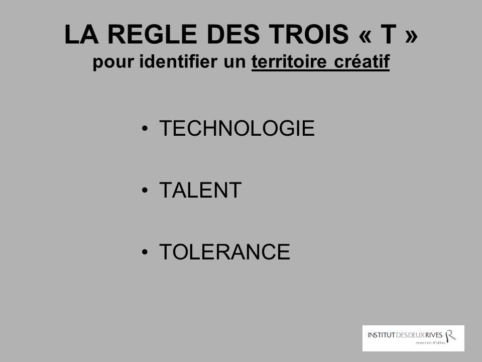 LA REGLE DES TROIS « T » pour identifier un territoire créatif TECHNOLOGIE TALENT TOLERANCE