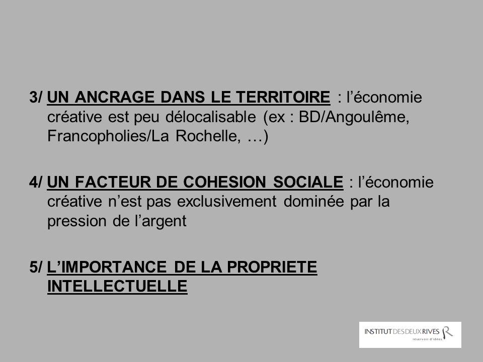 3/ UN ANCRAGE DANS LE TERRITOIRE : l'économie créative est peu délocalisable (ex : BD/Angoulême, Francopholies/La Rochelle, …) 4/ UN FACTEUR DE COHESI