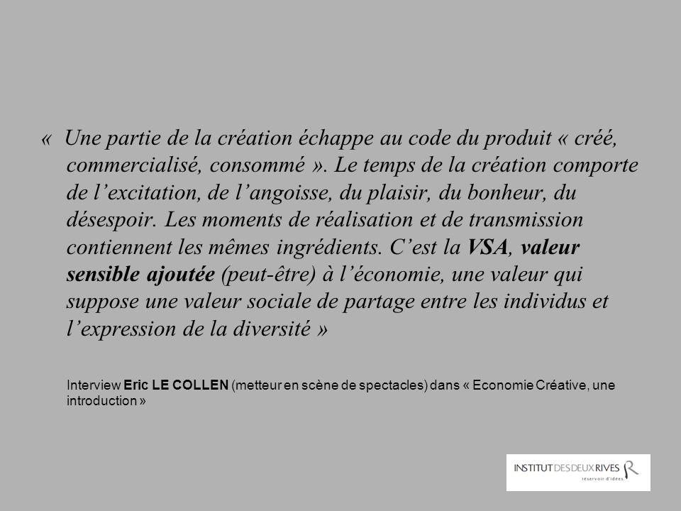 « Une partie de la création échappe au code du produit « créé, commercialisé, consommé ». Le temps de la création comporte de l'excitation, de l'angoi