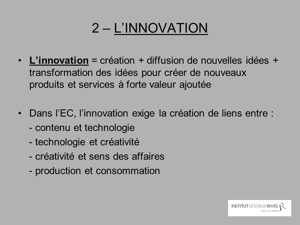 2 – L'INNOVATION L'innovation = création + diffusion de nouvelles idées + transformation des idées pour créer de nouveaux produits et services à forte