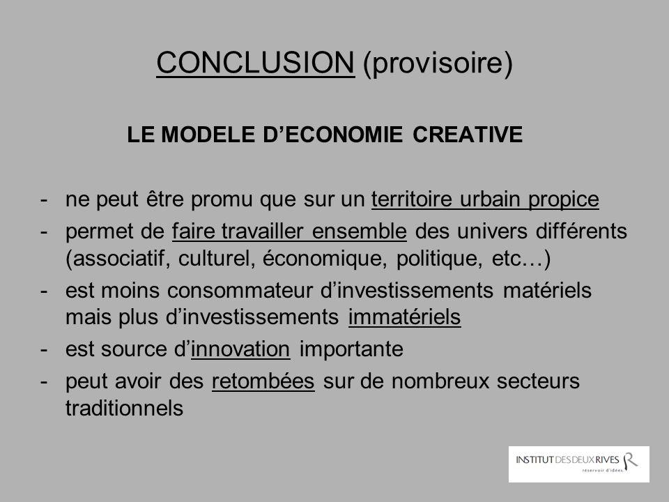 CONCLUSION (provisoire) LE MODELE D'ECONOMIE CREATIVE -ne peut être promu que sur un territoire urbain propice -permet de faire travailler ensemble de
