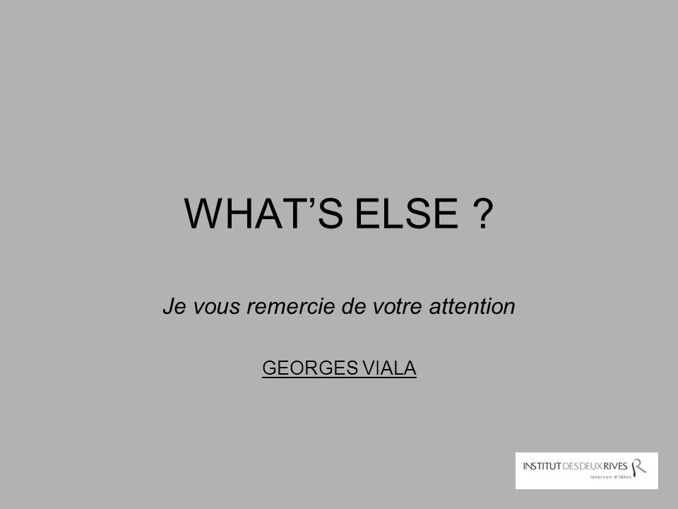 WHAT'S ELSE ? Je vous remercie de votre attention GEORGES VIALA
