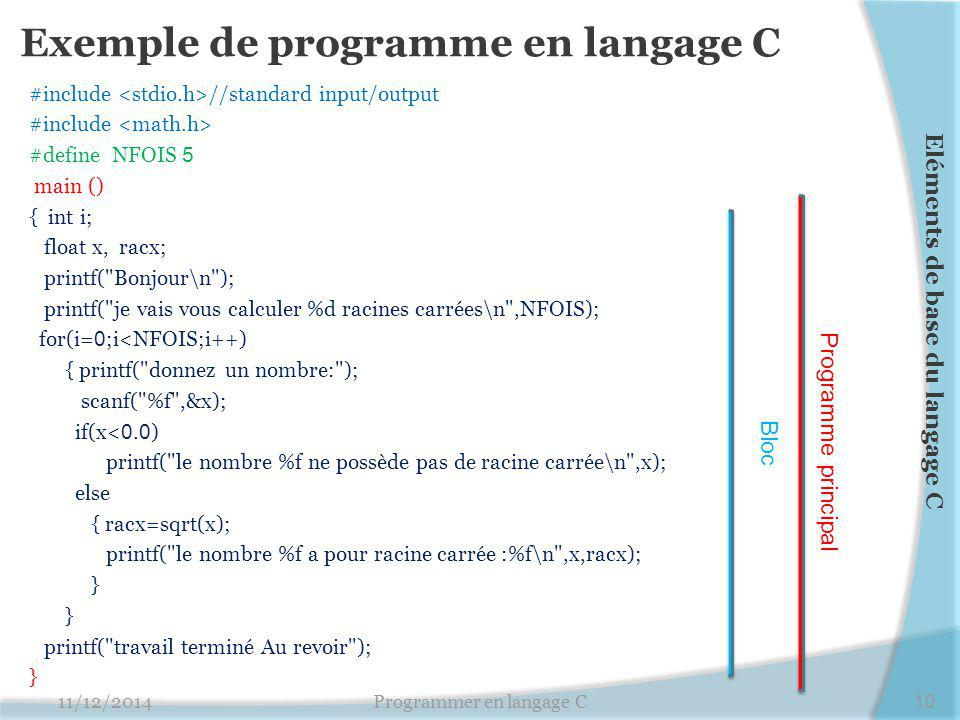 Exemple de programme en langage C #include //standard input/output #include #define NFOIS 5 main () { int i; float x, racx; printf(
