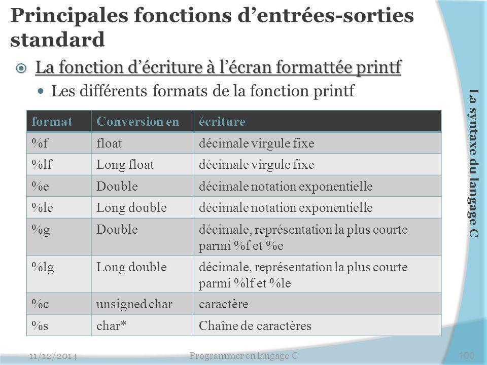 Principales fonctions d'entrées-sorties standard  La fonction d'écriture à l'écran formattée printf Les différents formats de la fonction printf 11/1