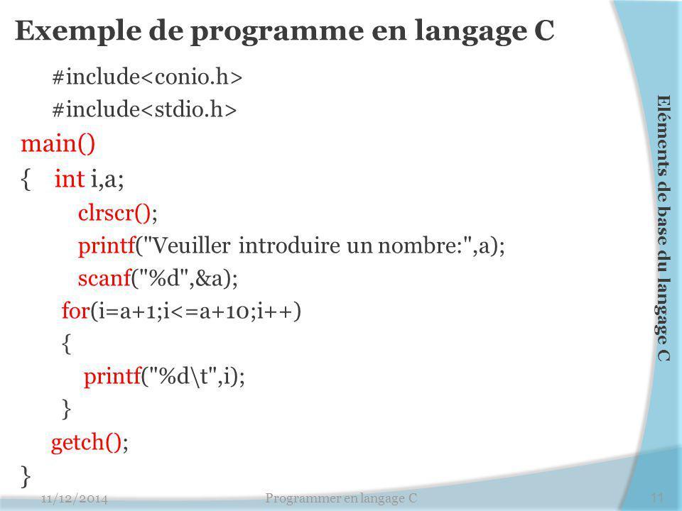 Exemple de programme en langage C #include main() { int i,a; clrscr(); printf( Veuiller introduire un nombre: ,a); scanf( %d ,&a); for(i=a+1;i<=a+10;i++) { printf( %d\t ,i); } getch(); } 11/12/2014Programmer en langage C11 Eléments de base du langage C