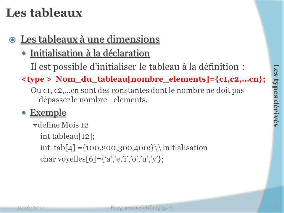 Les tableaux  Les tableaux à une dimensions Initialisation à la déclaration Initialisation à la déclaration Il est possible d'initialiser le tableau