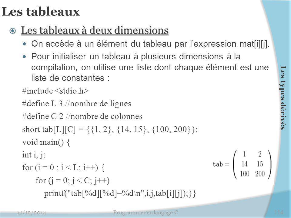 Les tableaux  Les tableaux à deux dimensions On accède à un élément du tableau par l'expression mat[i][j]. Pour initialiser un tableau à plusieurs di