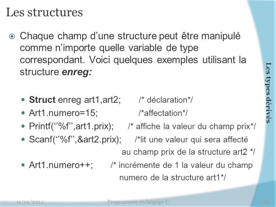 Les structures  Chaque champ d'une structure peut être manipulé comme n'importe quelle variable de type correspondant. Voici quelques exemples utilis