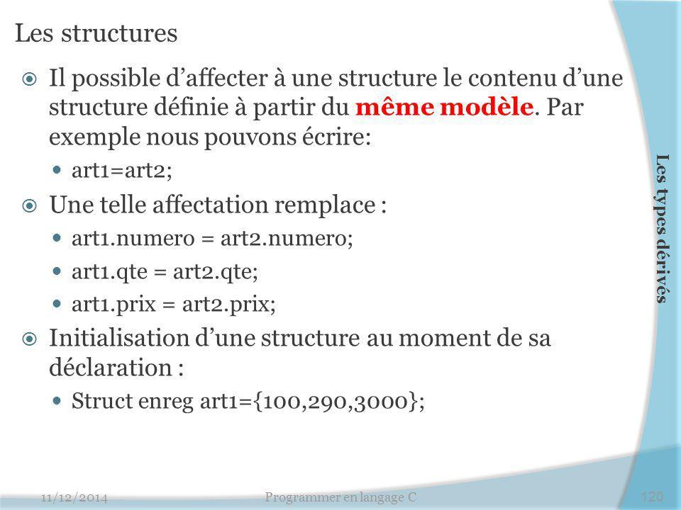 Les structures  Il possible d'affecter à une structure le contenu d'une structure définie à partir du même modèle. Par exemple nous pouvons écrire: a