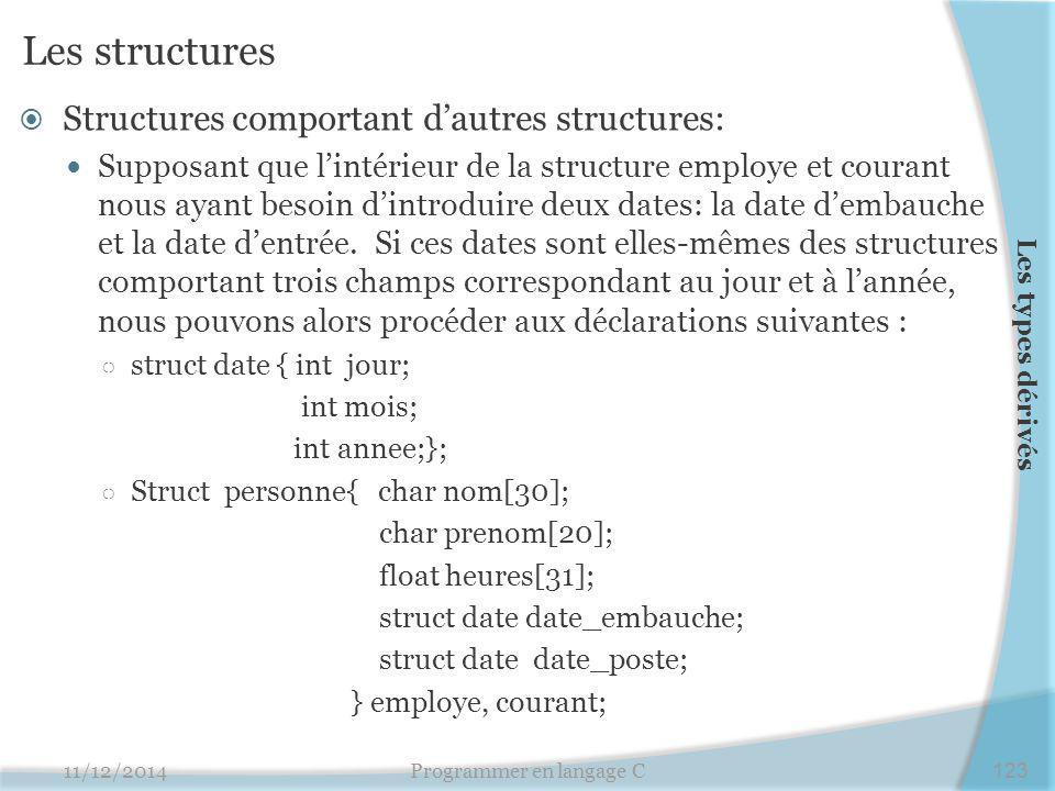 Les structures  Structures comportant d'autres structures: Supposant que l'intérieur de la structure employe et courant nous ayant besoin d'introduire deux dates: la date d'embauche et la date d'entrée.