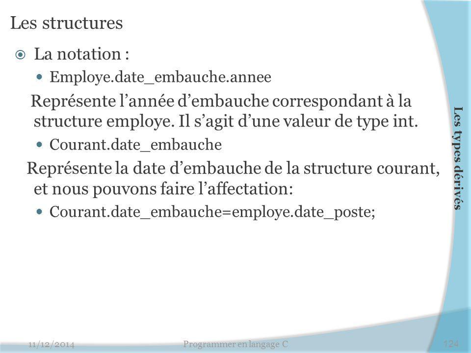 Les structures  La notation : Employe.date_embauche.annee Représente l'année d'embauche correspondant à la structure employe. Il s'agit d'une valeur