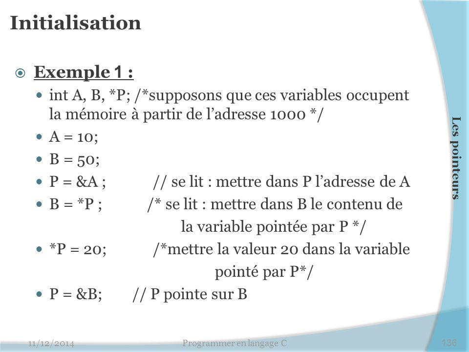 Initialisation  Exemple 1 : int A, B, *P; /*supposons que ces variables occupent la mémoire à partir de l'adresse 1000 */ A = 10; B = 50; P = &A ;// se lit : mettre dans P l'adresse de A B = *P ; /* se lit : mettre dans B le contenu de la variable pointée par P */ *P = 20;/*mettre la valeur 20 dans la variable pointé par P*/ P = &B; // P pointe sur B 11/12/2014Programmer en langage C136 Les pointeurs