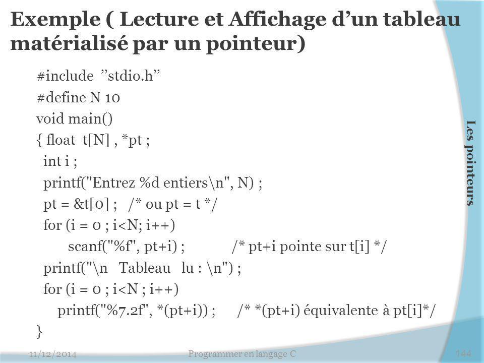 Exemple ( Lecture et Affichage d'un tableau matérialisé par un pointeur) #include ''stdio.h'' #define N 10 void main() { float t[N], *pt ; int i ; printf( Entrez %d entiers\n , N) ; pt = &t[0] ; /* ou pt = t */ for (i = 0 ; i<N; i++) scanf( %f , pt+i) ; /* pt+i pointe sur t[i] */ printf( \n Tableau lu : \n ) ; for (i = 0 ; i<N ; i++) printf( %7.2f , *(pt+i)) ; /* *(pt+i) équivalente à pt[i]*/ } 11/12/2014Programmer en langage C144 Les pointeurs