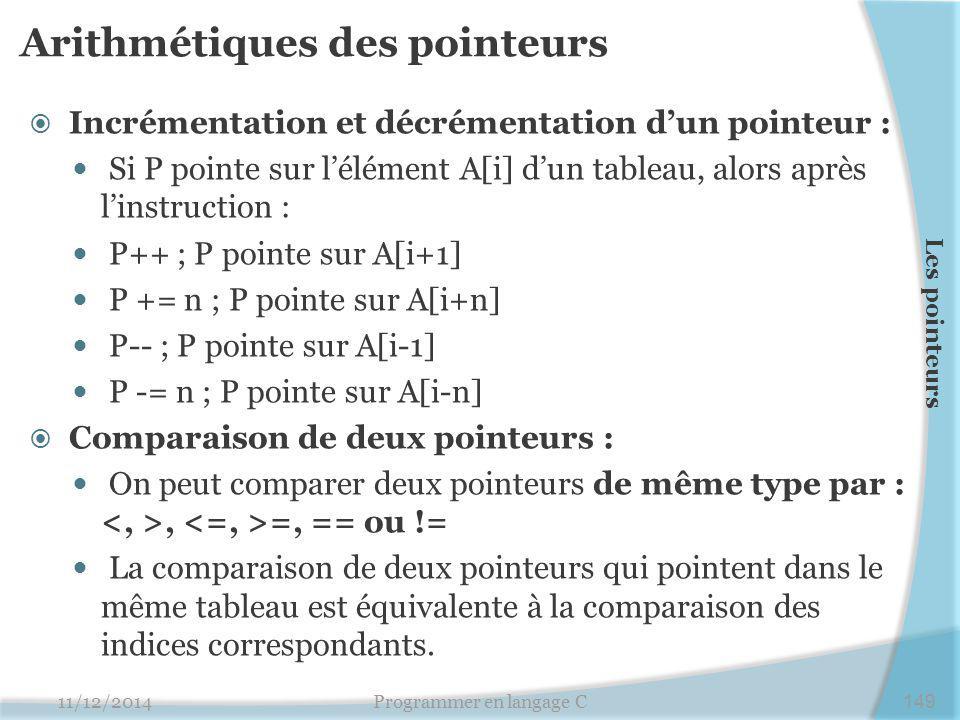Arithmétiques des pointeurs  Incrémentation et décrémentation d'un pointeur : Si P pointe sur l'élément A[i] d'un tableau, alors après l'instruction : P++ ; P pointe sur A[i+1] P += n ; P pointe sur A[i+n] P-- ; P pointe sur A[i-1] P -= n ; P pointe sur A[i-n]  Comparaison de deux pointeurs : On peut comparer deux pointeurs de même type par :, =, == ou != La comparaison de deux pointeurs qui pointent dans le même tableau est équivalente à la comparaison des indices correspondants.