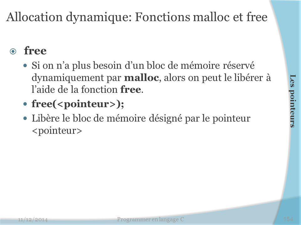 Allocation dynamique: Fonctions malloc et free  free Si on n'a plus besoin d'un bloc de mémoire réservé dynamiquement par malloc, alors on peut le libérer à l'aide de la fonction free.