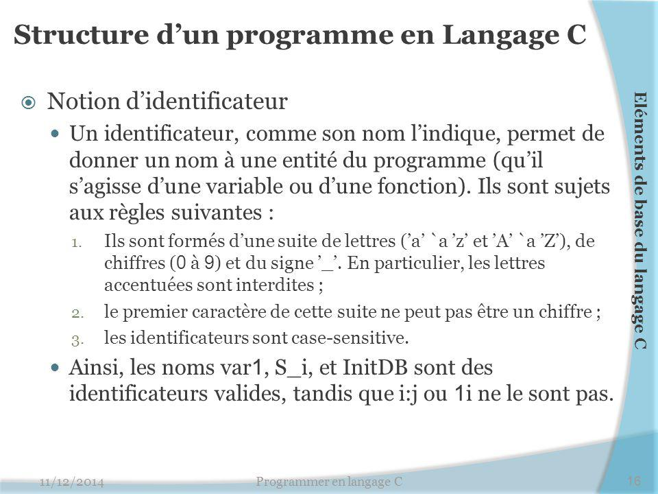 Structure d'un programme en Langage C  Notion d'identificateur Un identificateur, comme son nom l'indique, permet de donner un nom à une entité du programme (qu'il s'agisse d'une variable ou d'une fonction).