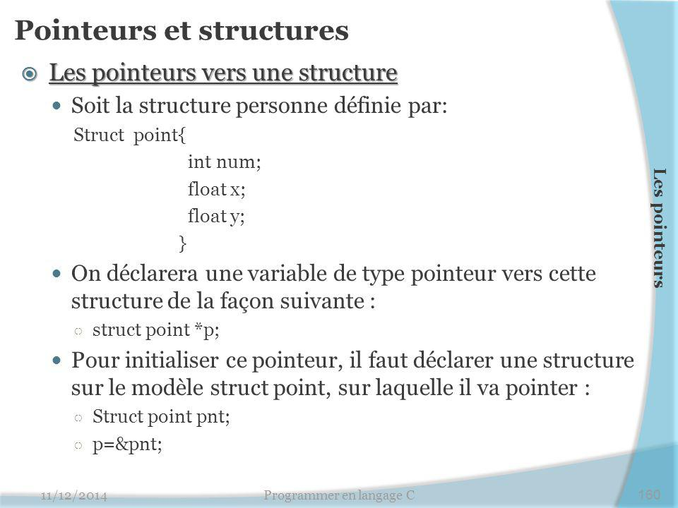 Pointeurs et structures  Les pointeurs vers une structure Soit la structure personne définie par: Struct point{ int num; float x; float y; } On déclarera une variable de type pointeur vers cette structure de la façon suivante : ○ struct point *p; Pour initialiser ce pointeur, il faut déclarer une structure sur le modèle struct point, sur laquelle il va pointer : ○ Struct point pnt; ○ p=&pnt; 11/12/2014Programmer en langage C160 Les pointeurs