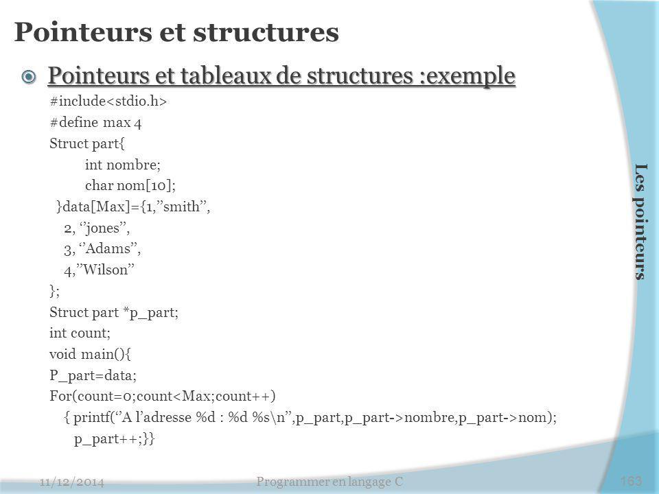 Pointeurs et structures  Pointeurs et tableaux de structures :exemple #include #define max 4 Struct part{ int nombre; char nom[10]; }data[Max]={1,''smith'', 2, ''jones'', 3, ''Adams'', 4,''Wilson'' }; Struct part *p_part; int count; void main(){ P_part=data; For(count=0;count<Max;count++) { printf(''A l'adresse %d : %d %s\n'',p_part,p_part->nombre,p_part->nom); p_part++;}} 11/12/2014Programmer en langage C163 Les pointeurs