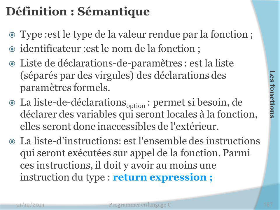 Définition : Sémantique  Type :est le type de la valeur rendue par la fonction ;  identificateur :est le nom de la fonction ;  Liste de déclarations-de-paramètres : est la liste (séparés par des virgules) des déclarations des paramètres formels.