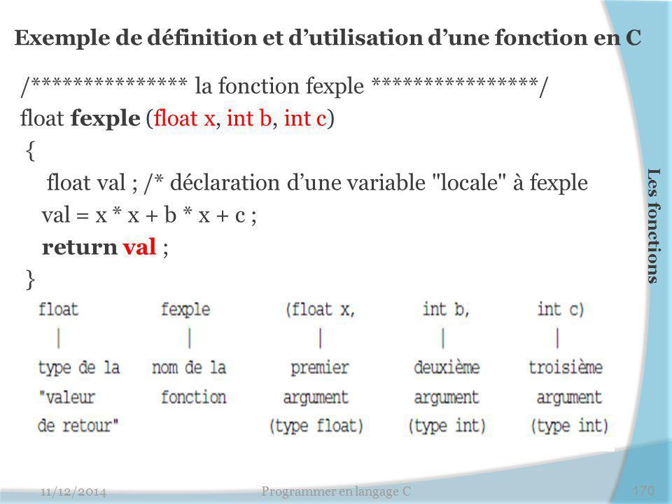 Exemple de définition et d'utilisation d'une fonction en C /*************** la fonction fexple ****************/ float fexple (float x, int b, int c)