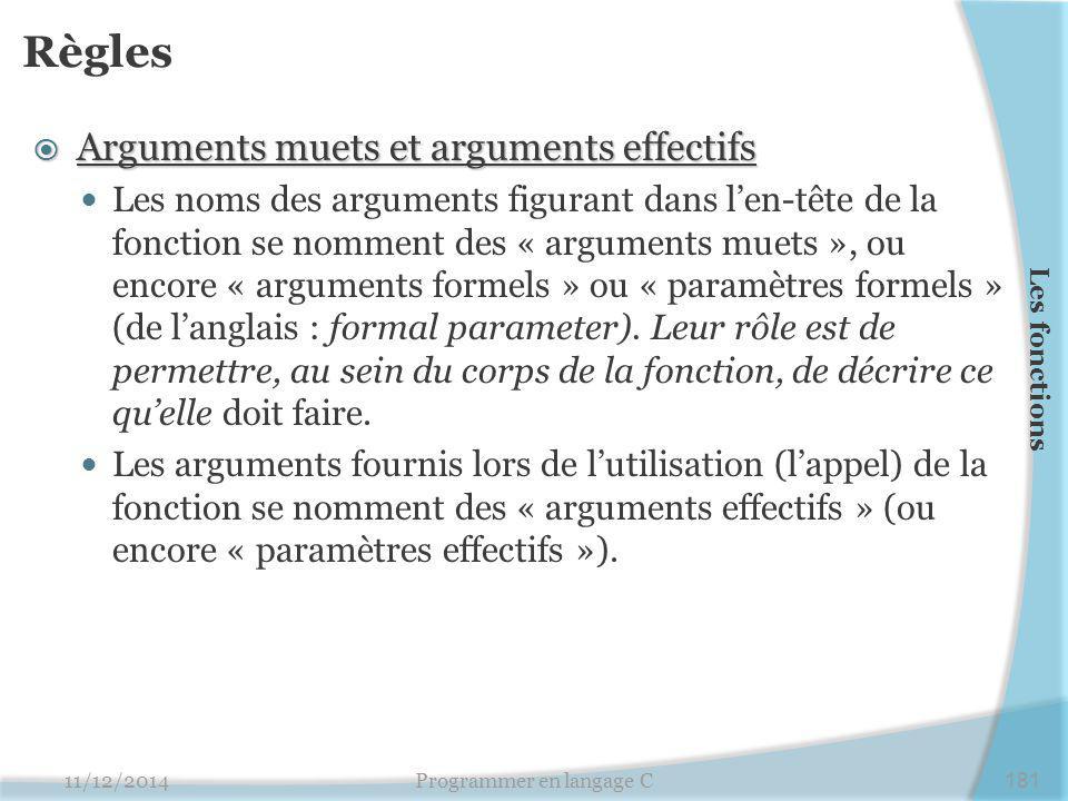 Règles  Arguments muets et arguments effectifs Les noms des arguments figurant dans l'en-tête de la fonction se nomment des « arguments muets », ou encore « arguments formels » ou « paramètres formels » (de l'anglais : formal parameter).