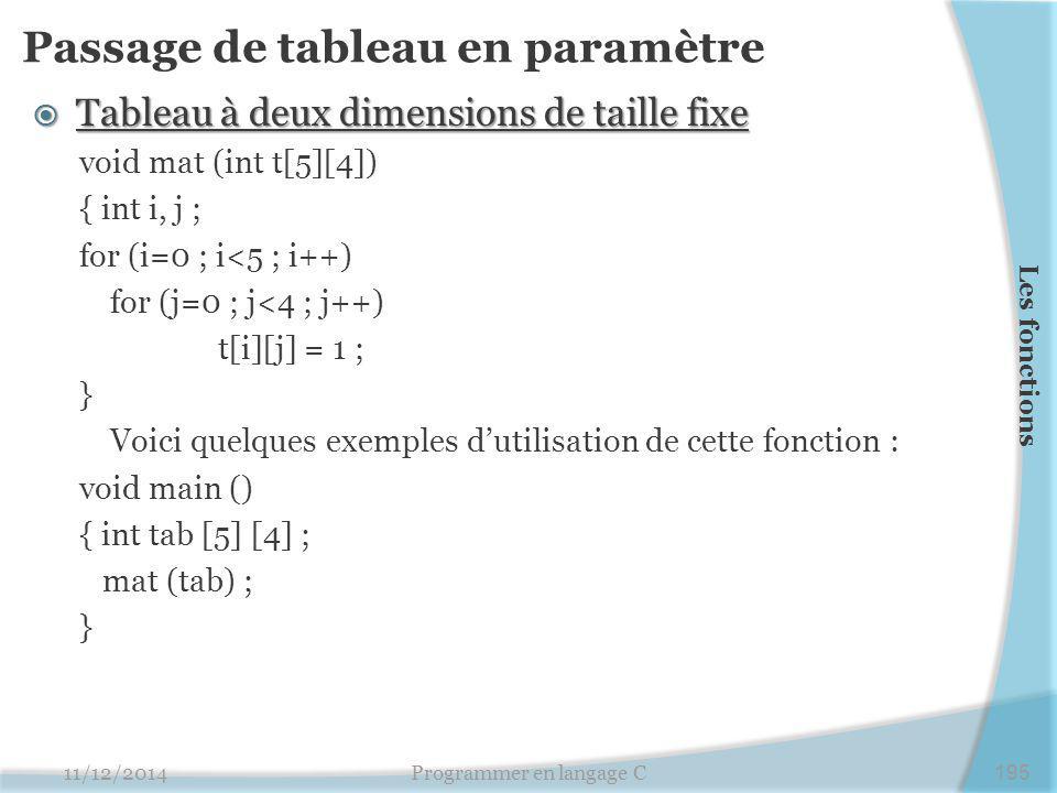 Passage de tableau en paramètre  Tableau à deux dimensions de taille fixe void mat (int t[5][4]) { int i, j ; for (i=0 ; i<5 ; i++) for (j=0 ; j<4 ; j++) t[i][j] = 1 ; } Voici quelques exemples d'utilisation de cette fonction : void main () { int tab [5] [4] ; mat (tab) ; } 11/12/2014Programmer en langage C195 Les fonctions