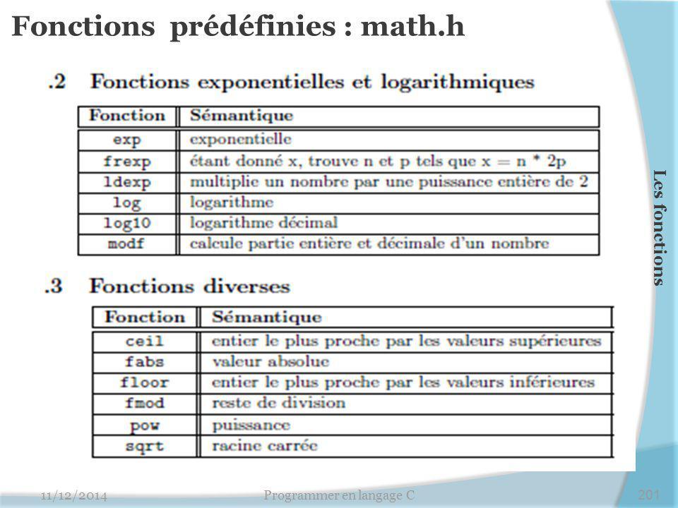 Fonctions prédéfinies : math.h 11/12/2014Programmer en langage C201 Les fonctions