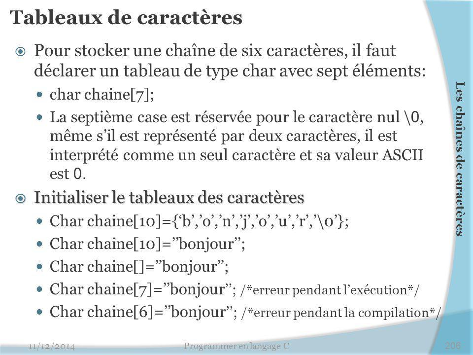 Tableaux de caractères  Pour stocker une chaîne de six caractères, il faut déclarer un tableau de type char avec sept éléments: char chaine[7]; La se