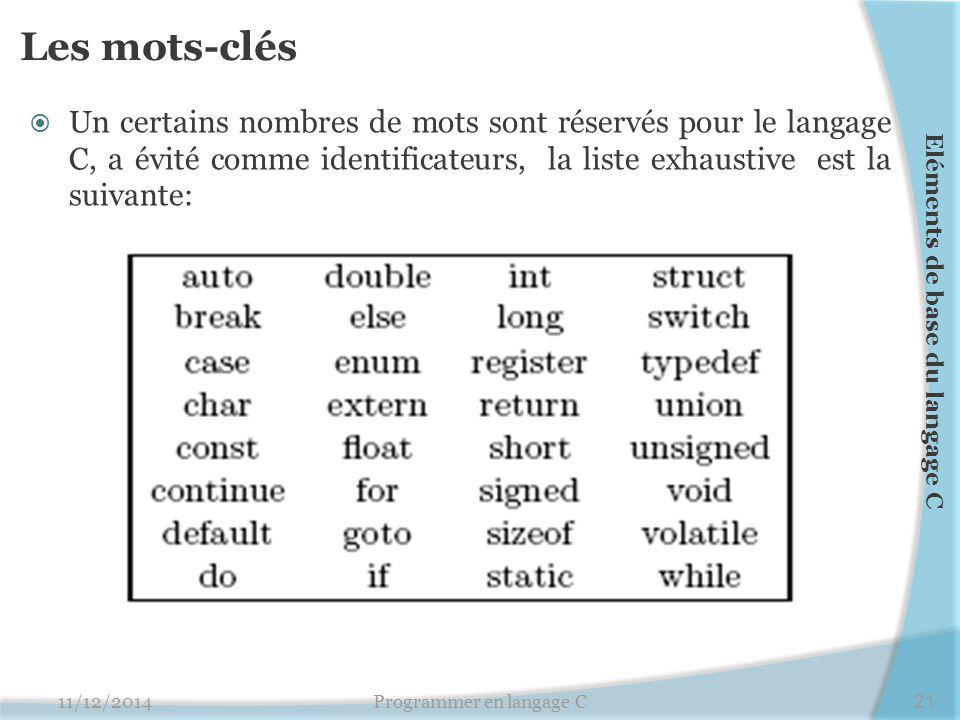 Les mots-clés  Un certains nombres de mots sont réservés pour le langage C, a évité comme identificateurs, la liste exhaustive est la suivante: 11/12/2014Programmer en langage C21 Eléments de base du langage C