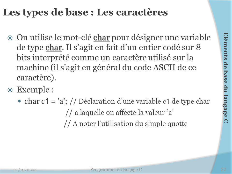 Les types de base : Les caractères char char  On utilise le mot-clé char pour désigner une variable de type char. Il s'agit en fait d'un entier codé