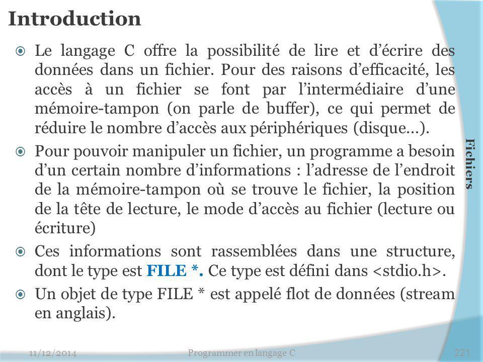 Introduction  Le langage C offre la possibilité de lire et d'écrire des données dans un fichier. Pour des raisons d'efficacité, les accès à un fichie