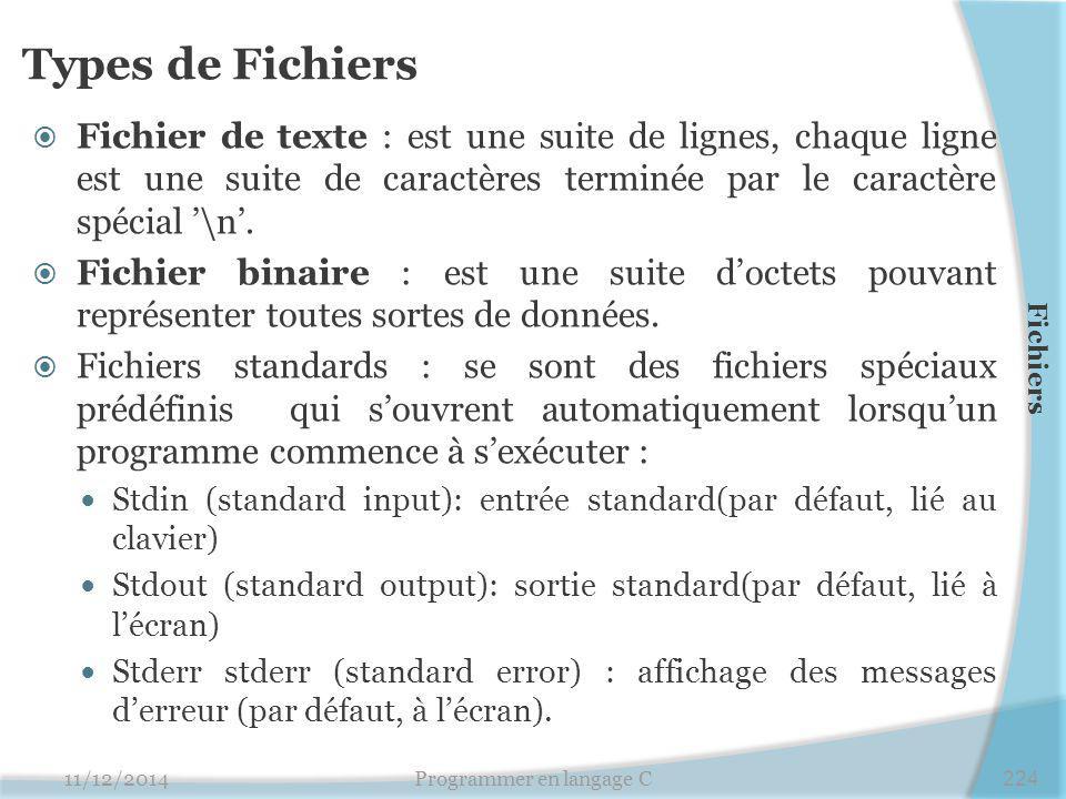 Types de Fichiers  Fichier de texte : est une suite de lignes, chaque ligne est une suite de caractères terminée par le caractère spécial '\n'.