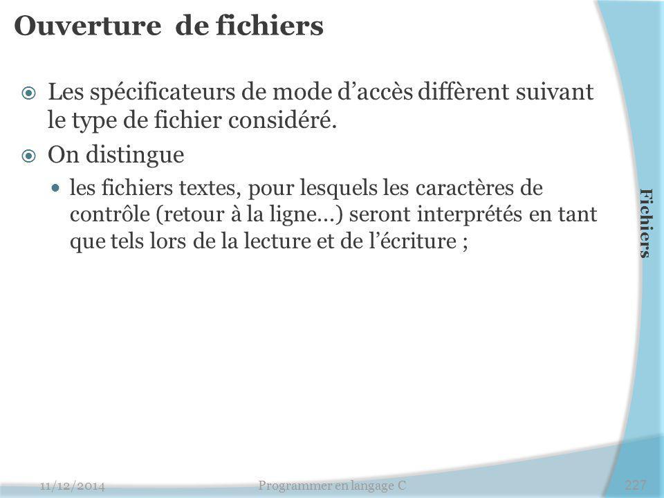 Ouverture de fichiers  Les spécificateurs de mode d'accès diffèrent suivant le type de fichier considéré.